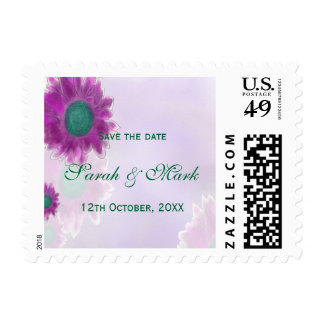 Contemporary Watercolor and Pen Floral Wedding Postage