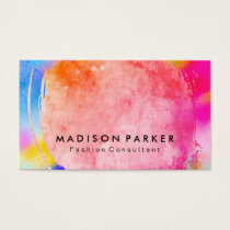 Contemporary Watercolor Brushed Vibrant Business Card