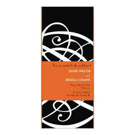 contemporary wedding invitation - orange