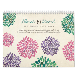 Contemporary Wedding Personalized Photo Guest Book Wall Calendars