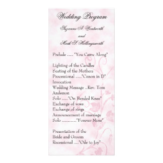 Contemporary Wedding Programs Pink Personalized Rack Card