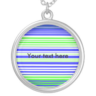 Contemporary white light green and blue stripes custom necklace