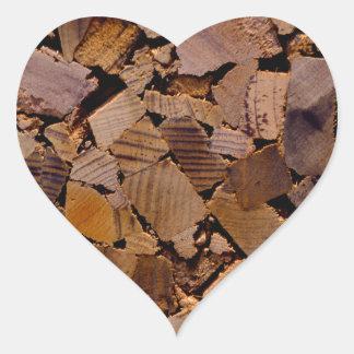 Contemporary wood chip design heart sticker