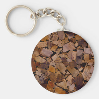 Contemporary Wood chip design Keychain