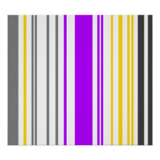 Contemporary yellow violet and white stripes poster