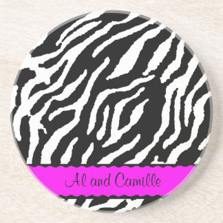 Contemporary Zebra Stripes With Hot Pink Ribbon Coasters