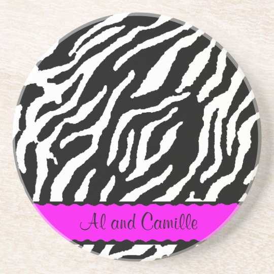 Contemporary Zebra Stripes With Hot Pink Ribbon Drink Coaster