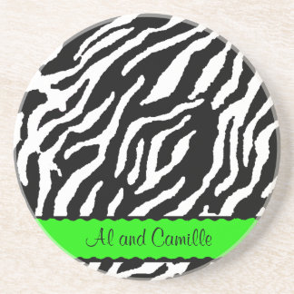 Contemporary Zebra Stripes With Lime Green Ribbon Coaster