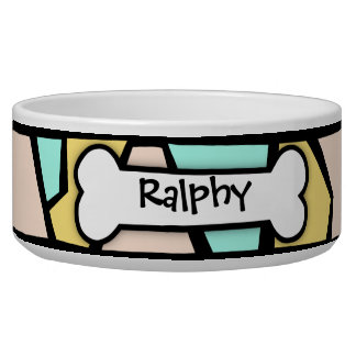 Contempory Abstract Customizable Dog Bowl
