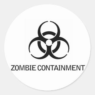 Contención del zombi etiqueta redonda