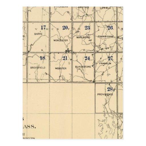 Contenido al atlas de Massachusetts Tarjetas Postales