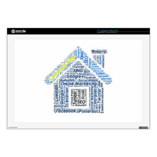 """content-is-king word-cloud Social Media Text Faceb 17"""" Laptop Skin"""