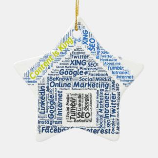 content-is-king word-cloud Social Media Text Faceb Ceramic Ornament