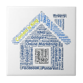content-is-king word-cloud Social Media Text Faceb Ceramic Tile