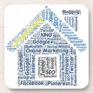content-is-king word-cloud Social Media Text Faceb Coaster