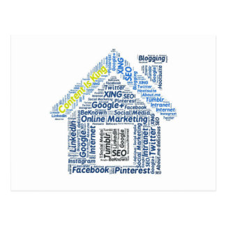 content-is-king word-cloud Social Media Text Faceb Postcard