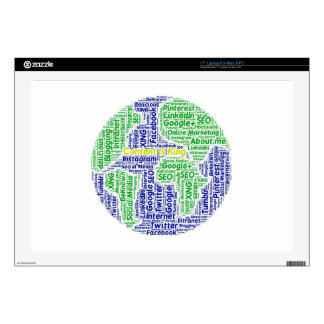 """content-is-king word-cloud Social Media Text Skins For 17"""" Laptops"""