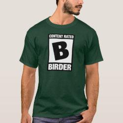 Men's Basic Dark T-Shirt with Content Rated B: Birder design