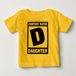 Baby Fine Jersey T-Shirt with Content Rated D: Daughter design