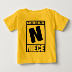 Baby Fine Jersey T-Shirt with Content Rated Niece design