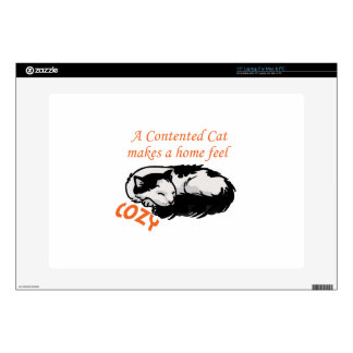 """Contented Cat Decals For 15"""" Laptops"""