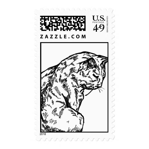 Contented Cat drawing Postage Stamp
