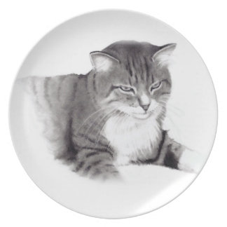 Contented Cat: Realism Pencil Drawing: Art Party Plates