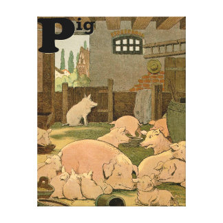 Contented Pigs on the Farm Alphabet Canvas Print