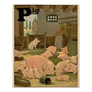 Contented Pigs on the Farm Alphabet Poster