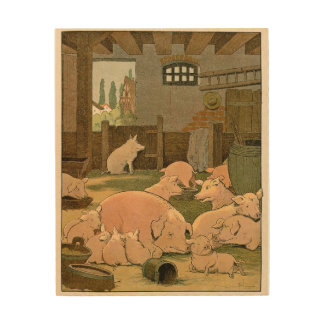 Contented Pigs on the Farm Wood Wall Art