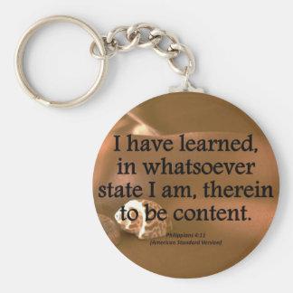 Contentment Philippians 4-11 Condensed Basic Round Button Keychain