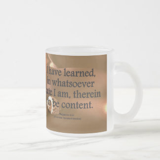 Contentment Philippians 4-11 Condensed 10 Oz Frosted Glass Coffee Mug