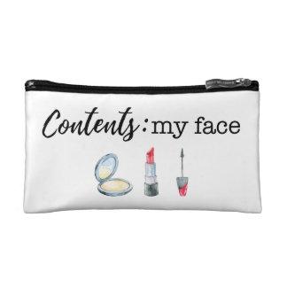 Contents: my face makeup bag
