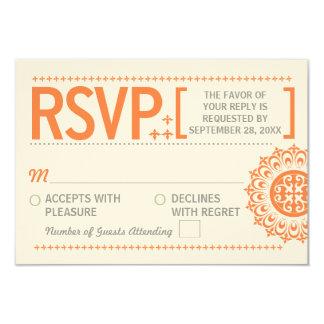 """Contestación anaranjada ornamental tipográfica del invitación 3.5"""" x 5"""""""