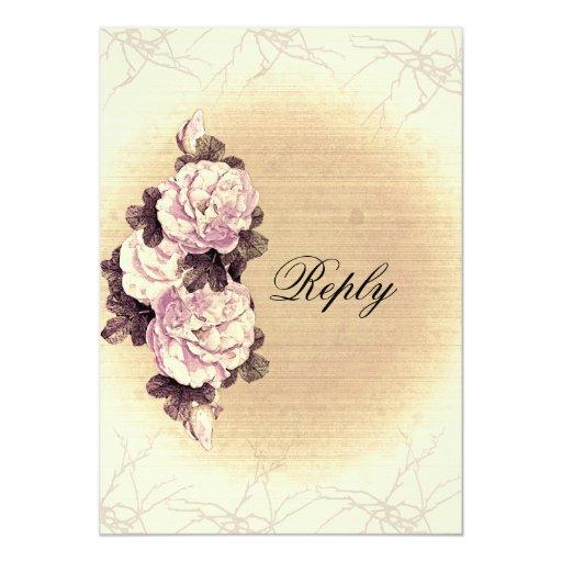 Contestación color de rosa rústica del boda invitación 12,7 x 17,8 cm
