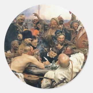 Contestación de los Cossacks de Zaporozhian Pegatina Redonda