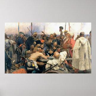 Contestación de los Cossacks de Zaporozhian Póster