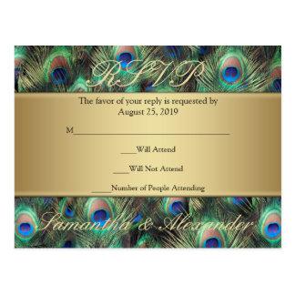Contestación de oro de RSVP de la pluma del pavo r Postal