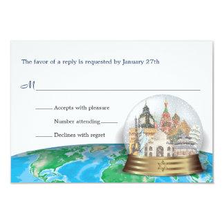 """Contestación del globo de la nieve de Mitzvah del Invitación 3.5"""" X 5"""""""