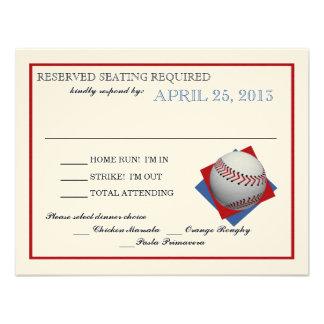Contestación del papel del fieltro del béisbol invitación personalizada