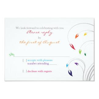 Contestación floral de RSVP del tema del arco iris Invitación 8,9 X 12,7 Cm