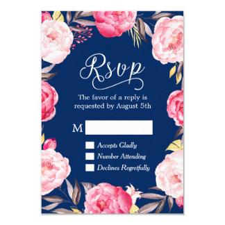 """Contestación floral rosada de RSVP de los azules Invitación 3.5"""" X 5"""""""