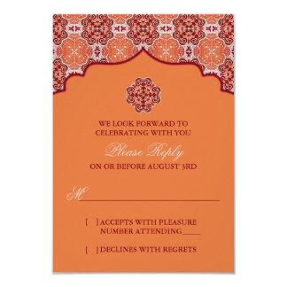 Contestación india de RSVP del rojo anaranjado del Invitacion Personalizada