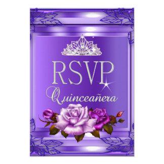 Contestación Quinceanera de RSVP 15 rosas rosados Invitacion Personal