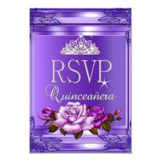 Contestación Quinceanera de RSVP 15 rosas rosados