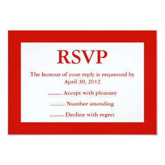 Contestación roja y blanca del acontecimiento, invitacion personal