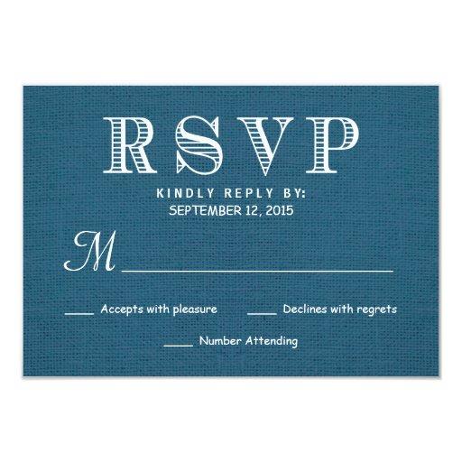 Contestación rústica del boda de la arpillera de invitación 8,9 x 12,7 cm