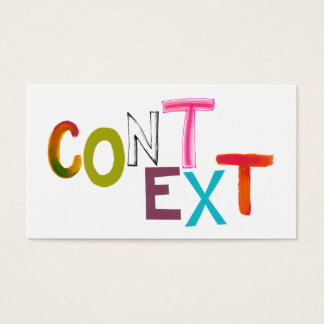Context perspective situation fun unique art words business card