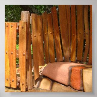 Contexto de madera de la foto de la cerca posters