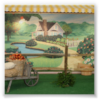 Contexto pintado de la foto del jardín poster